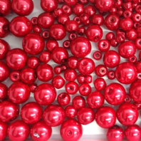 200 Assorted Sizes 4mm 6mm 8mm 10mm Glass Pearl Beads Bordeaux